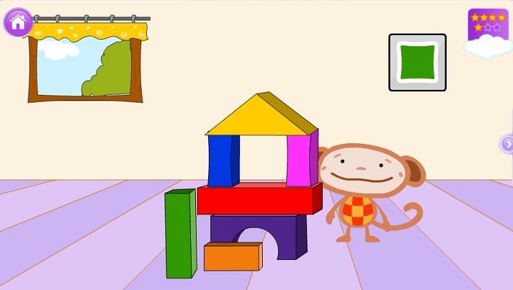 Башня из кубиков - Для самых маленьких.Выбирай кубик нужного цвета и помоги обезьянкеОливерупостроить башню