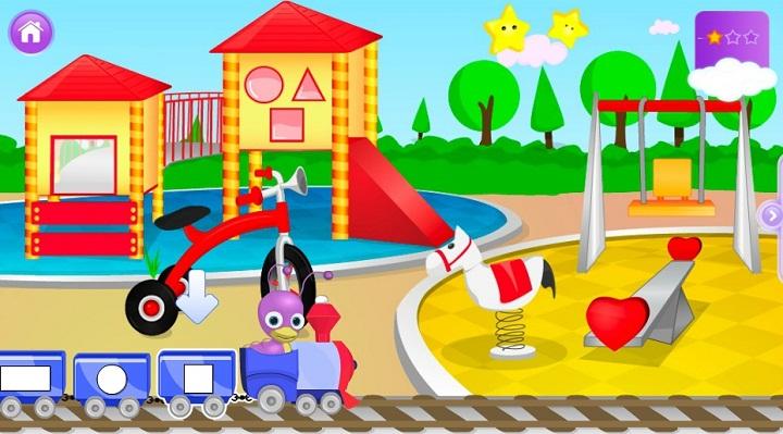Сложи фигуры в вагончики - В каждый вагончик геометрического поезда положи фигуры, которые находятся на картинке. Игра для самых маленьких.