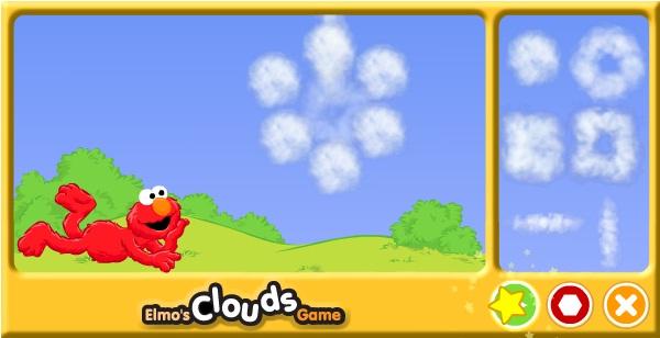 Облака Элмо - замечали ли вы, что облака часто похожи на какой-нибудь предмет или животное? Попробуйте из маленьких облачков в правой панели собрать любую фигурку, а когда закончите - нажмите зеленую стрелочку