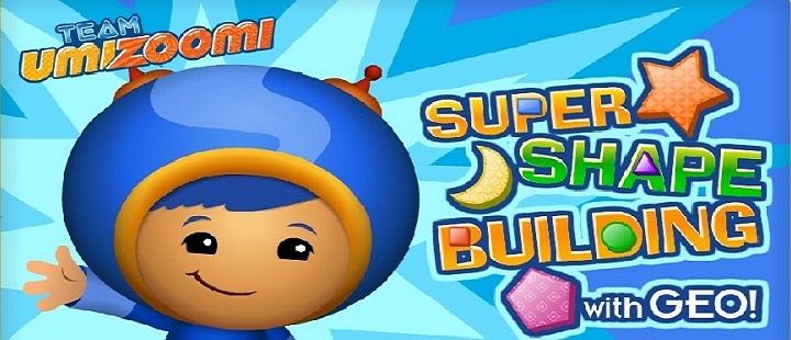 Team Umizoomi. Super Shape Building with Geo: Строим вертолет, воздушный шар и подводную лодку из геометрических фигур, которые нужно найти среди предметов на картинке. Игра на английском языке.